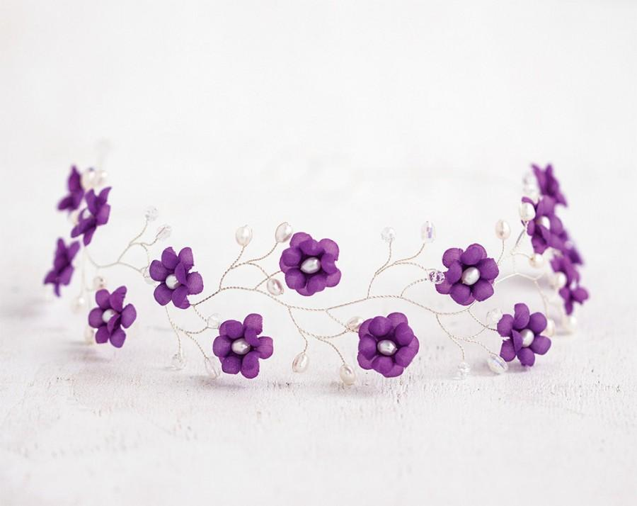 Свадьба - 51_Purple flower crown, Hair accessories, Flower crown, Silver head piece, Hair piece flower, Circlet of flowers Violet wedding Flower tiara