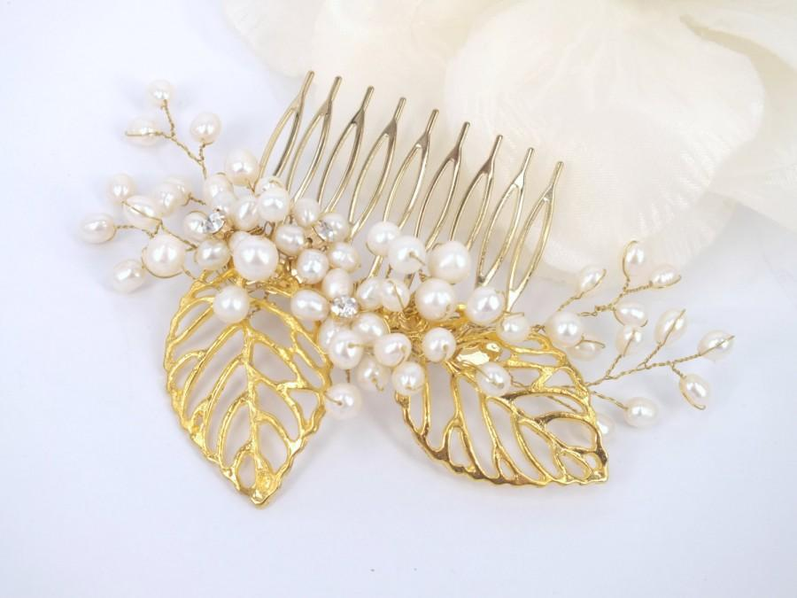 Свадьба - Cleo - 18K gold plated golden leaves and Freshwater Pearl Bridal Comb