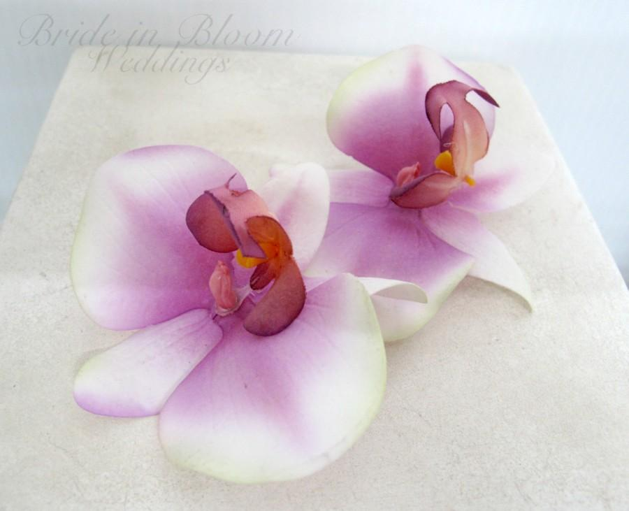Свадьба - Wedding hair accessories Orchid bobby pins Purple white real touch set of 2 Bridal hair accessory