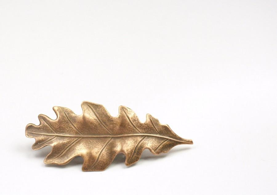 Свадьба - Oak leaf barrette hair clip antique style Victorian autumn hair accessory fall Thanksgiving