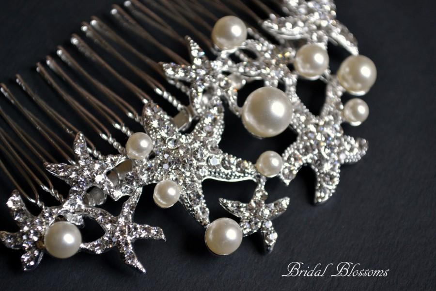 Свадьба - Starfish Rhinestone Pearl Bridal Hair Comb