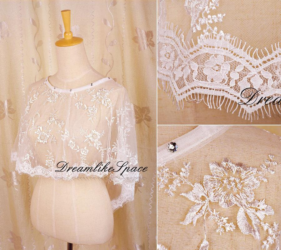 Hochzeit - Bridal lace bolero,Round neck crystal bolero,Floral embroidery bolero,Lace jacket,Wedding lace bolero,Lace top,Bridesmaid bolerosBridal cape