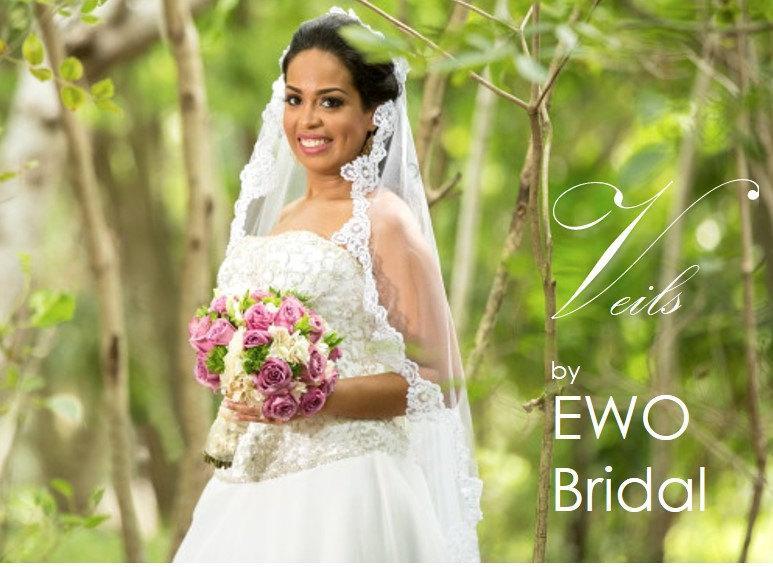 Mariage - Veils by EWO Bridal: Fingertip Veil, Alencon Lace, Re-embroidered Lace, White Lace bridal veil, Scallop Lace Veil, Bridal Hair Accessories