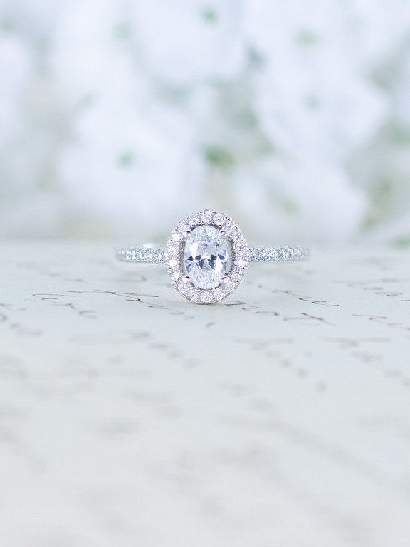 Mariage - Cubic Zirconia Halo Ring - Oval Cut Ring - Sterling Silver Engagement Ring - Micro Pave Ring - Promise Ring