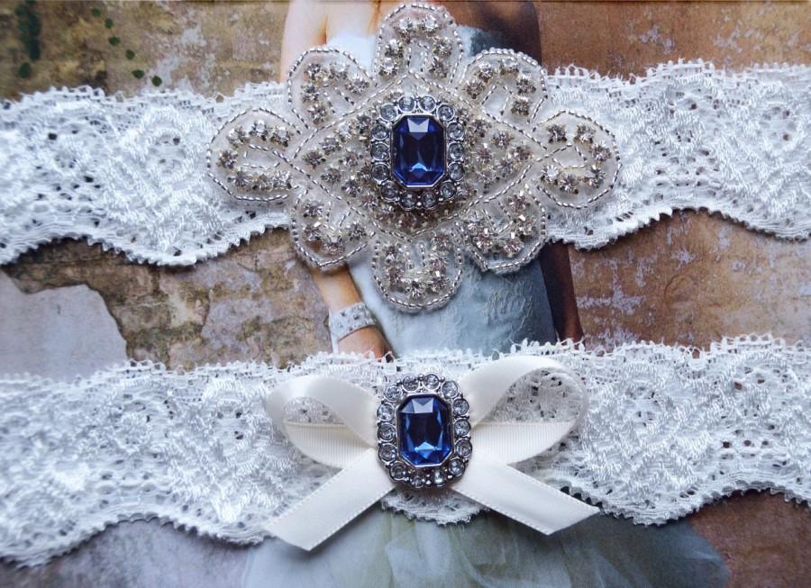 Hochzeit - Navy Wedding Garter Set, Crystal Bridal Garter Set, Bling Garter, Wedding Garter Belt,Wedding Garter Set, Rhinestone Bridal Garter Set 0804