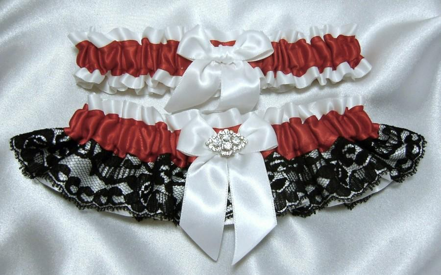 Red Satin With Black Lace Wedding Garter Set