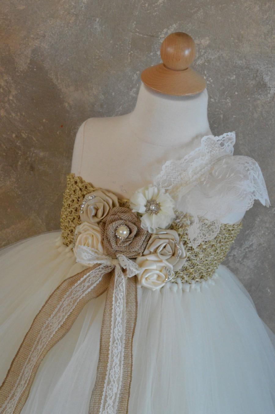Свадьба - Rustic Inspired Burlap and Lace Flower girl tutu dress