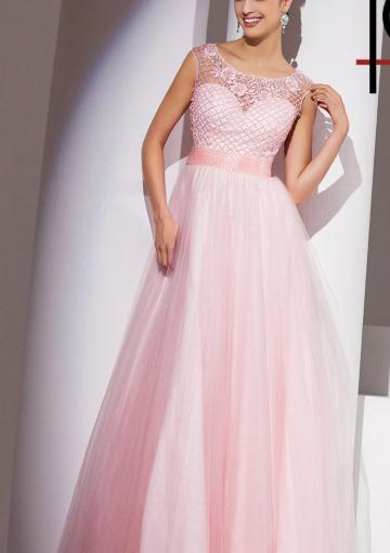 Mariage - Appliques Scoop Pink Chiffon Tulle Floor Length
