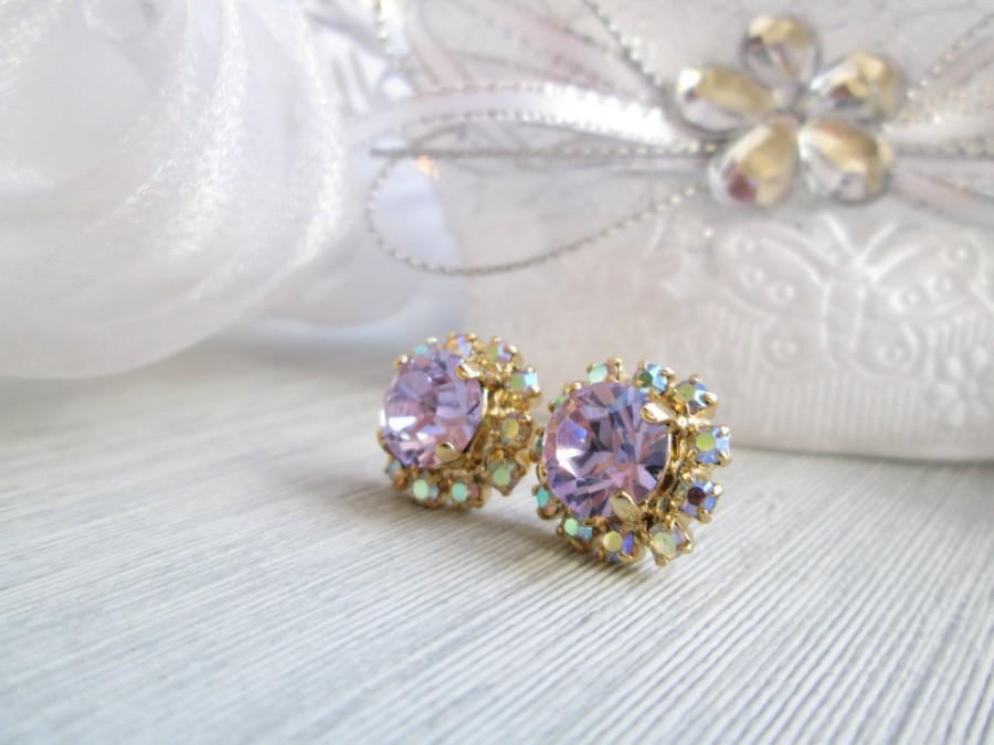 زفاف - Swarovski Earrings Classic Rhinestone Earrings, Purple Lilac Lavender Stud Vintage Style, High Quality 14k Gold Plating, Genuine Rhinestones