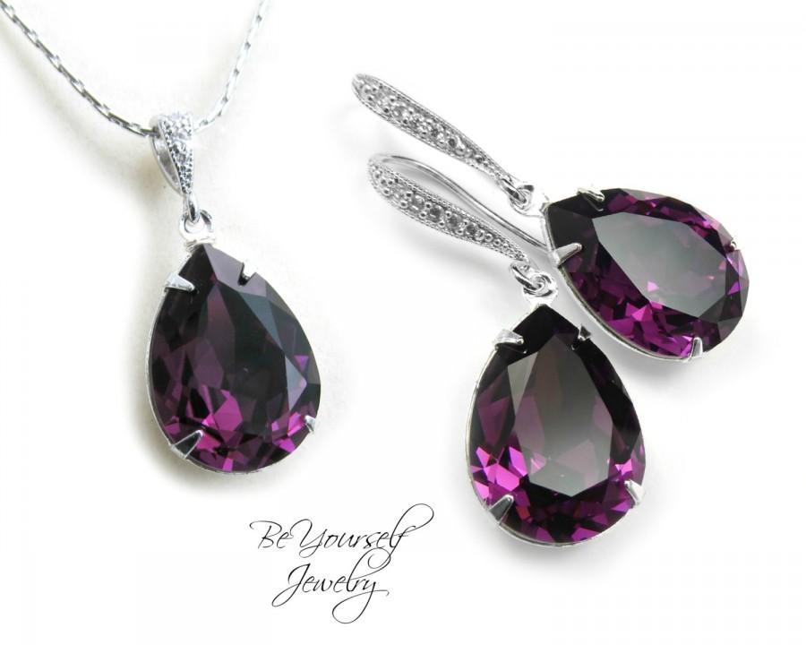 Purple Bridal Earring Plum Bride Necklace Wedding Jewelry Swarovski Crystal Amethyst Teardrop Dark Bridesmaid Gift