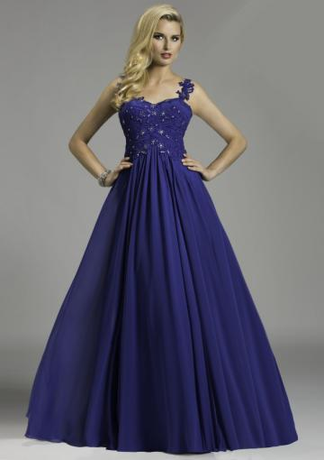 Свадьба - One Shoulder Appliques Blue Chiffon Tulle Ruched Floor Length