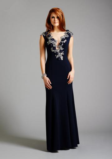 Wedding - V-neck Tulle Chiffon Dark Navy Appliques Floor Length