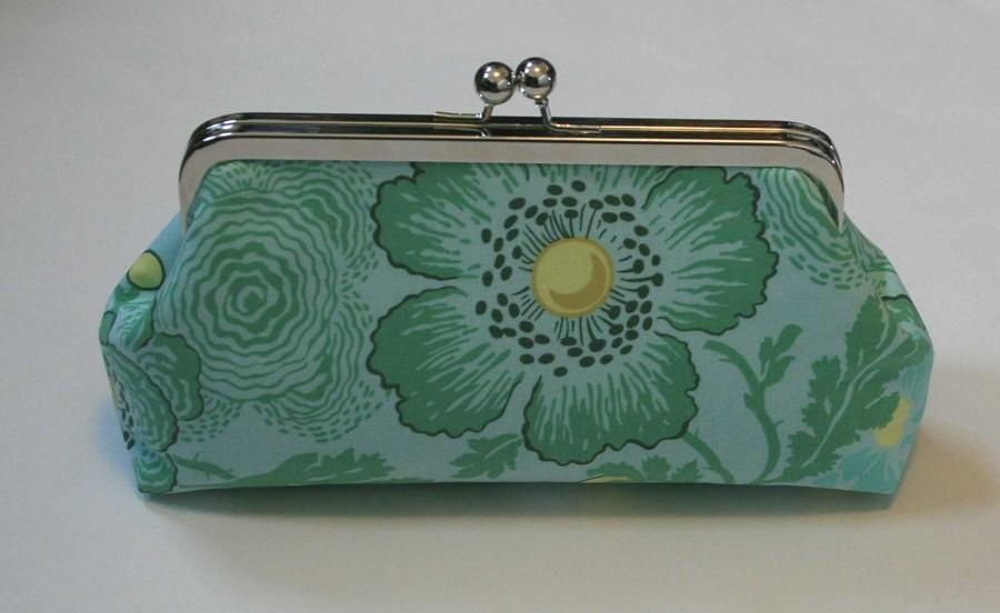 Mariage - Mint Green Bridesmaid Clutch Sky Poppies Handbag