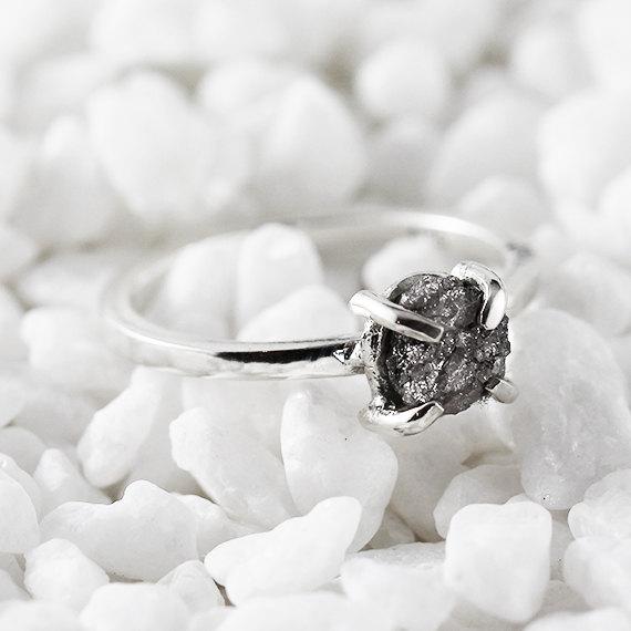 زفاف - Silver Engagement Ring Uncut Rough Diamond Rings