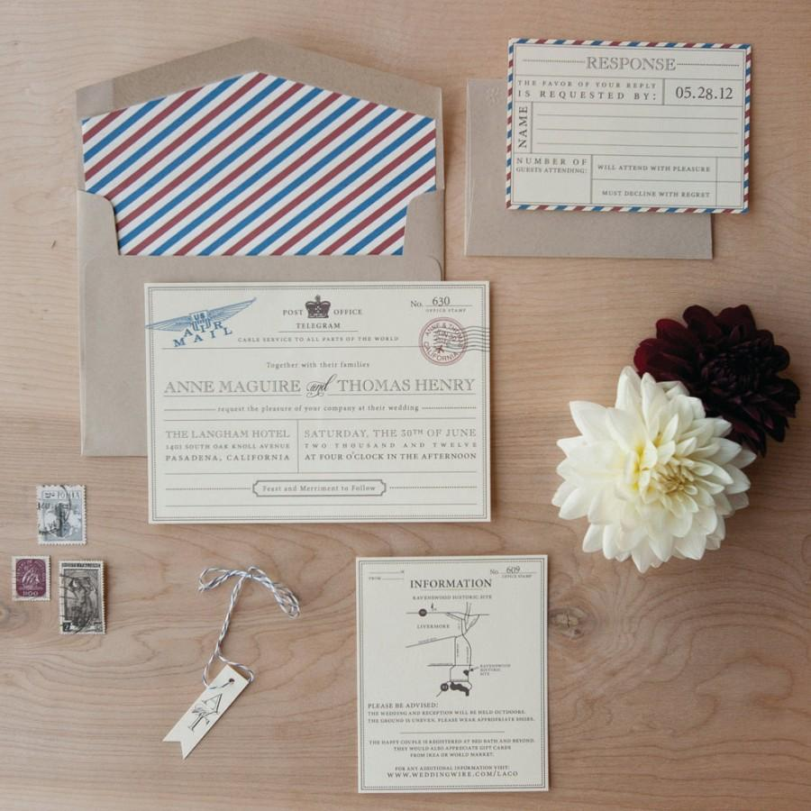 Vintage Travel Wedding Invitation - Destination Wedding Invitation ...