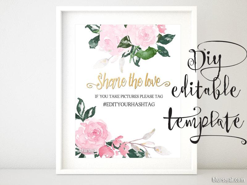 printable hashtag sign template diy wedding hashtag sign pink