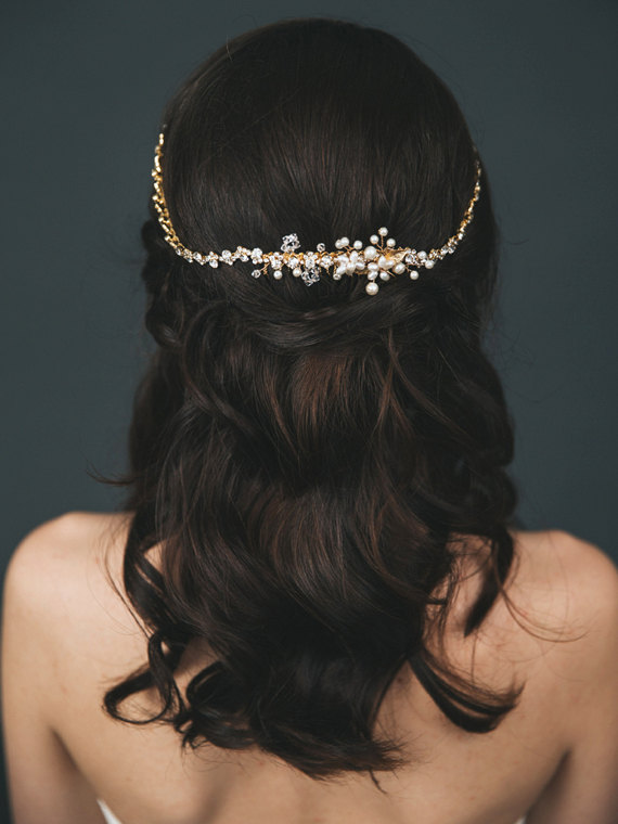 Mariage - Gold Bridal Halo Headpiece