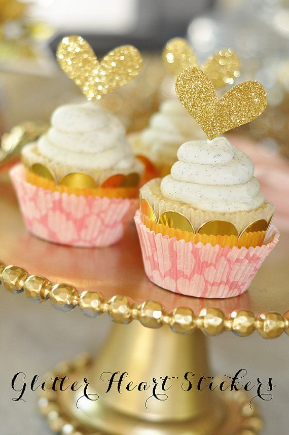 Wedding - Glitter Heart Cupcake Toppers DIY Gold Glitter Heart Stickers - Pink And Gold Party Birthday Baby Shower (EB3037) Set Of 24 Stickers