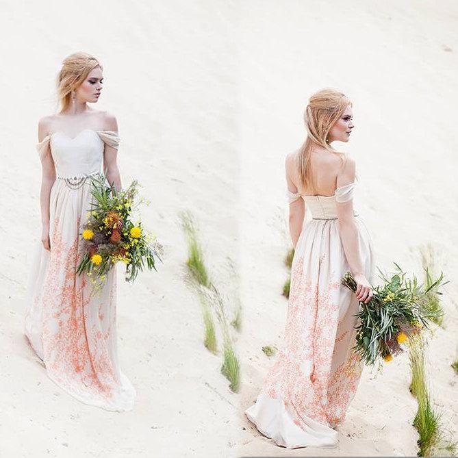 Свадьба - Chiffon wedding dress alternative wedding dress Romantic wedding dress Bohemian wedding dress Low back wedding dress