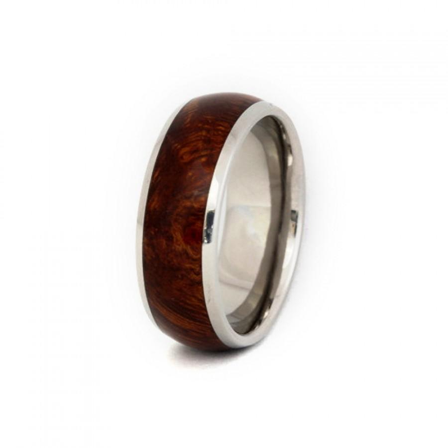 Свадьба - Titanium Ring with Ironwood Burl Wood Inlay, Ring Armor Included