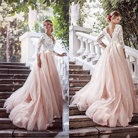 Pink Wedding Dress Tulle Long Sleeves Gown Romantic Lace
