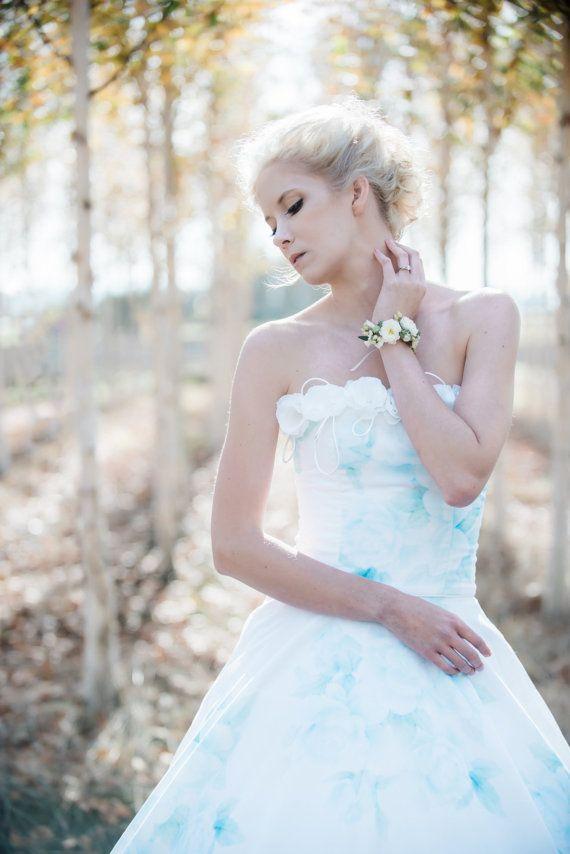 Свадьба - Floral Wedding Dress Watercolor Romantic, BONAPARTE, Silk Cotton Blue Pink Blush