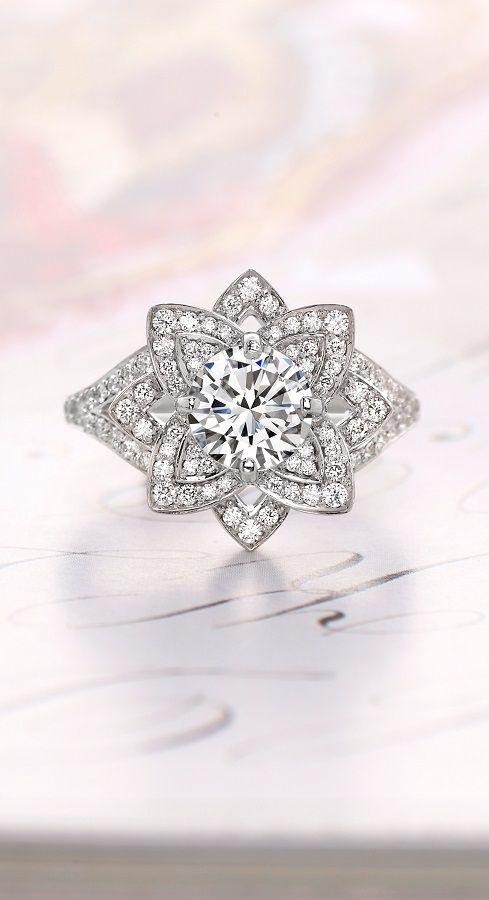 Wedding - 18K White Gold Lily Diamond Ring (1/2 Ct. Tw.)
