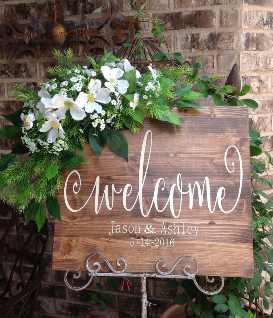 Wedding welcome sign wedding signs welcome sign welcome wooden wedding welcome sign wedding signs welcome sign welcome wooden wedding sign wedding signage welcome to our wedding sign barn wedding junglespirit Choice Image