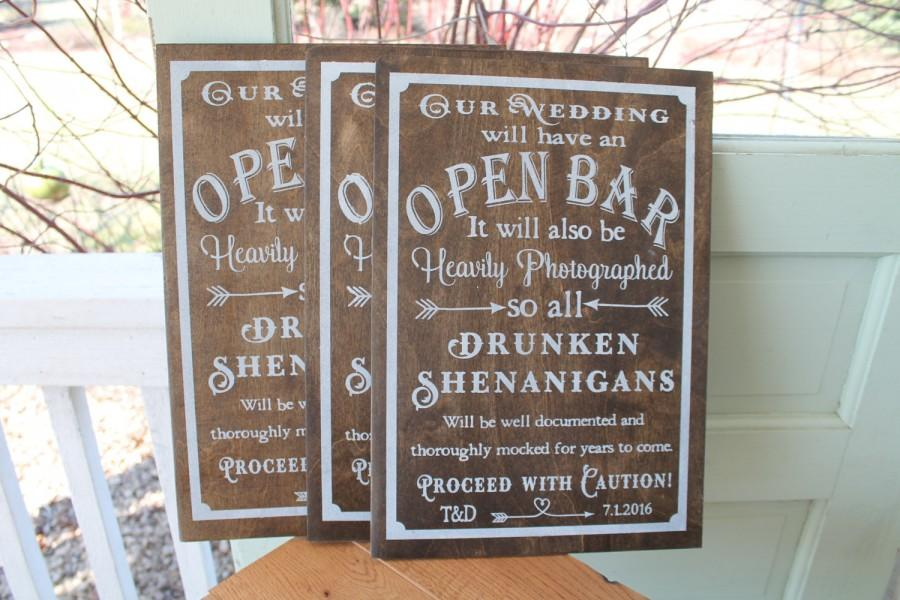 Open Bar Sign Wedding Personalized Dessert Rustic Cottage Chic