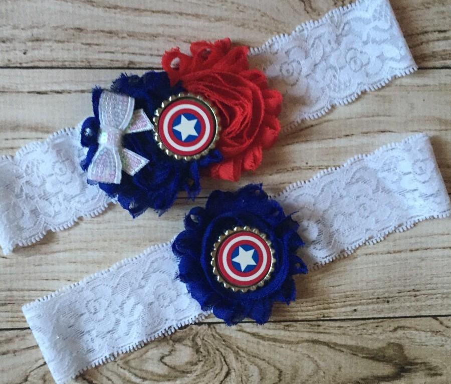 Свадьба - Captain America inspired wedding garter set