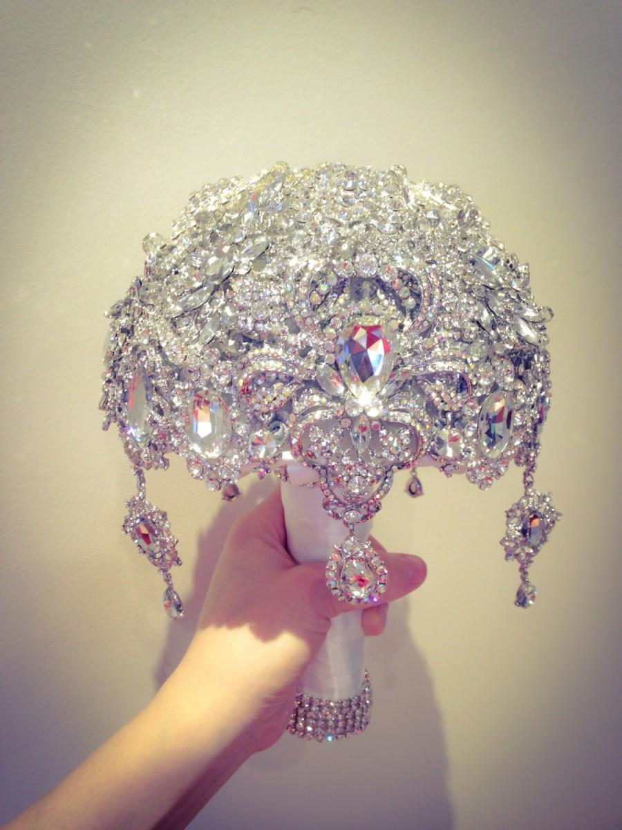 Hochzeit - Luxurious Great Gatsby Diamond Silver White Crystal Clear Bling  brooch bouquet. Deposit listing