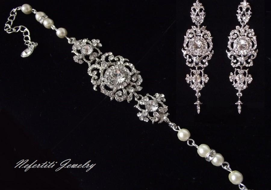 Vintage Style Wedding Jewelry Set Rhinestone Pearl Bridal Jewelry
