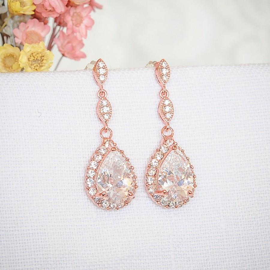 Rose Gold Bridal Earrings Crystal Wedding Zirconia Teardrop Dangle Stud Jewelry Pollyanna