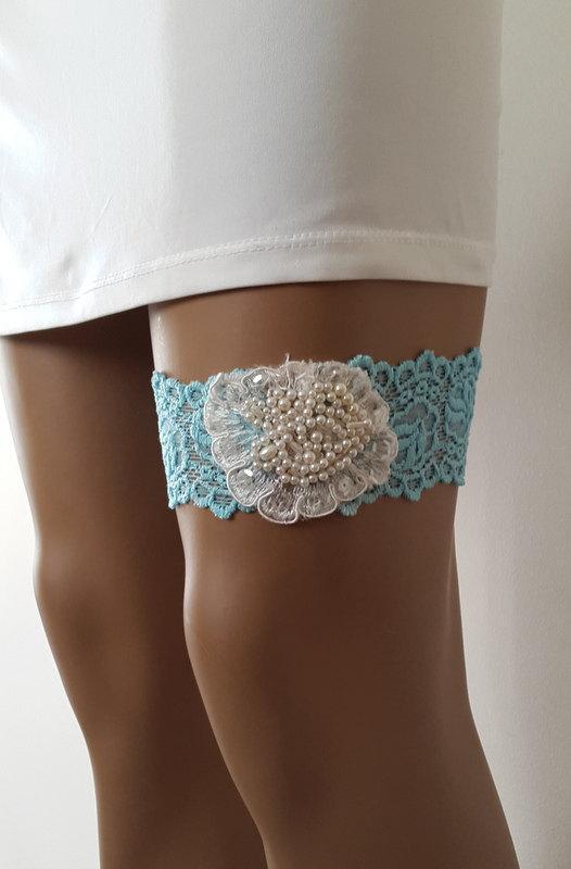 Toss Garters Ivory Blue Lace Wedding Garters Bridal Accessores Garter Suspander Free
