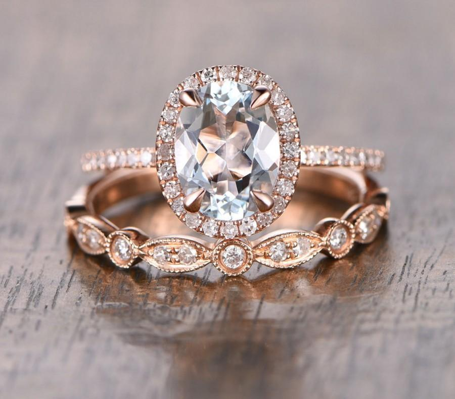 Wedding - Oval Aquamarine Diamond, Halo Engagement Ring, Rose Gold Art Deco, Wedding set,  Aquamarine Wedding set, Diamond, Rose Gold, Halo Diamond