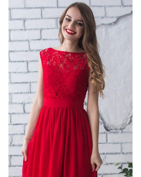 Hochzeit - Red Bridesmaid Dress Maxi Lace Dress Red Prom Dress Chiffon Evening Sleeveless Party Dress