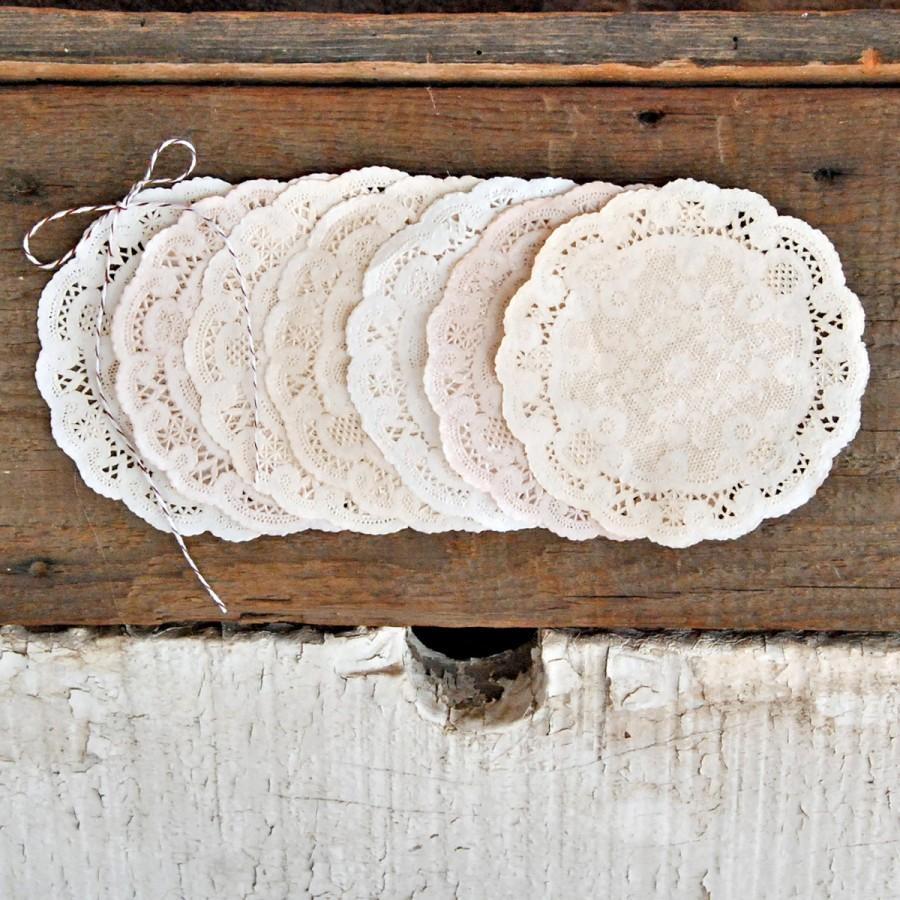 Mariage - PACK 4 INCH Shabby Rustic Hand Dyed Paper Lace Doilies