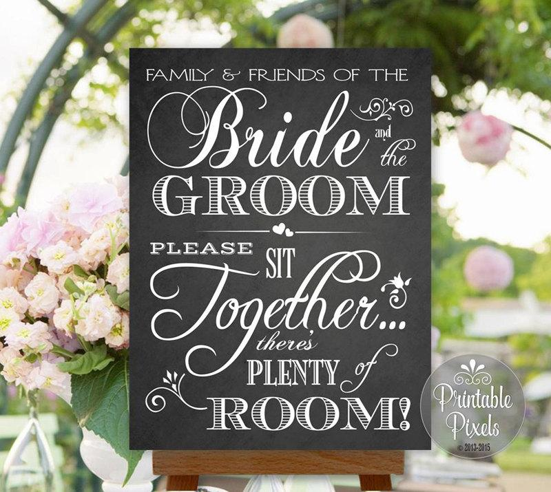Mariage - Choose A Seat Not A Side Sign Wedding Chalkboard Style Friends of the Bride and Groom No Seating Plan Instant Download (#NSP7C)