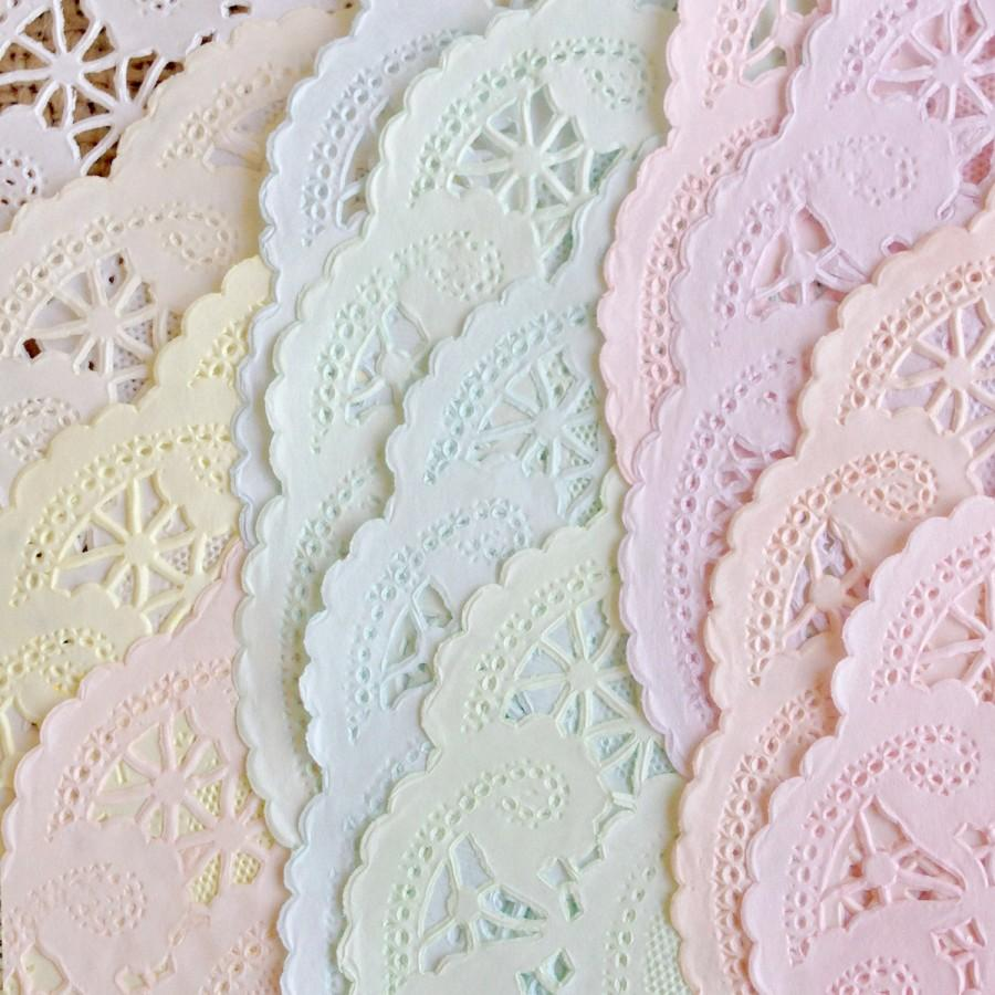 Pack 50 10 Inch Shabby Rustic Hand Dyed Paper Lace Doilies