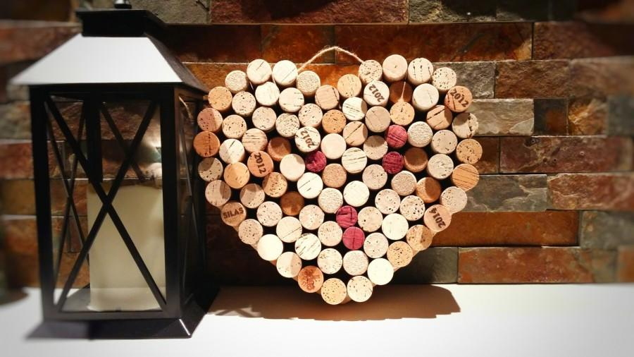 Mariage - Wine Cork Heart; Wedding Decor; Housewarming Gift; Bridal Shower Gift