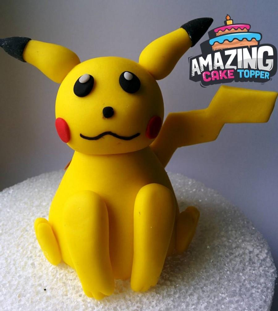 3D Pikachu Pokémon Fondant Cake Topper. Ready To Ship The Same Day ...
