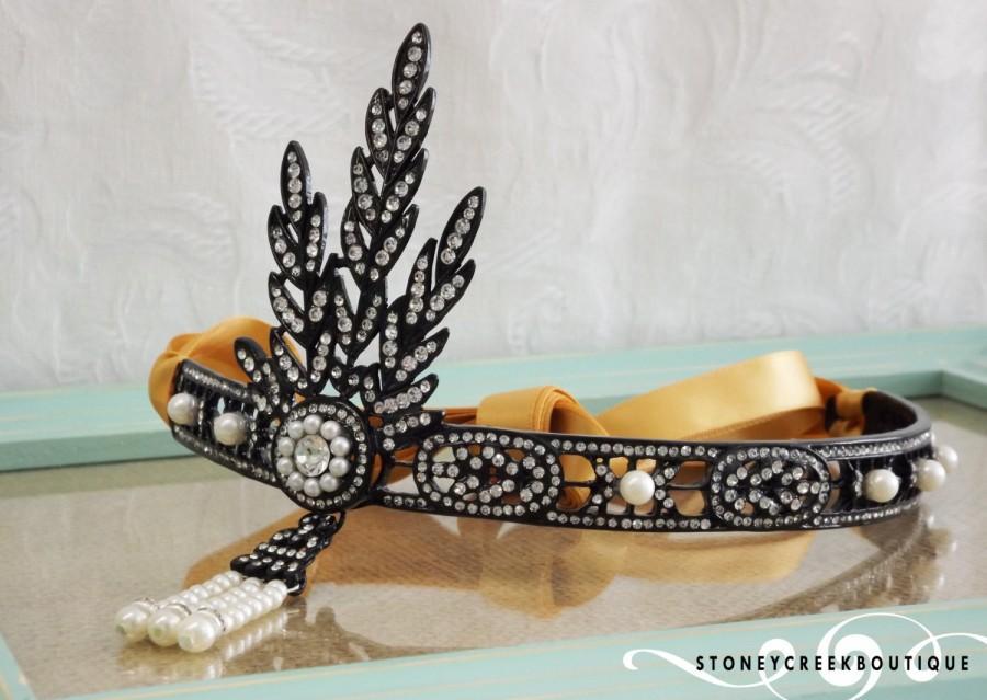 Mariage - Great Gatsby Headpiece BLACK Gatsby Flapper headband roaring 20's Bridal wedding Tiara Prom Headpiece hair accessories Daisy Headband