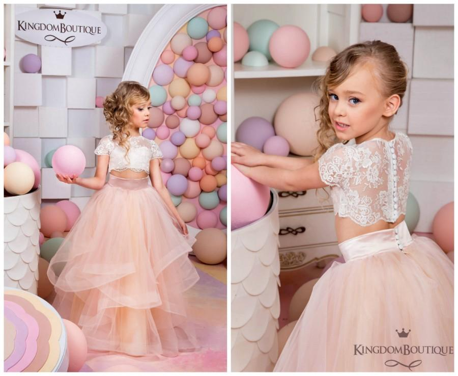 445cf259fd4bf Ivory and Blush Pink Flower Girl Dress - Birthday Wedding Party Holiday  Bridesmaid Flower Girl Ivory and Blush Pink Tulle Lace Dress