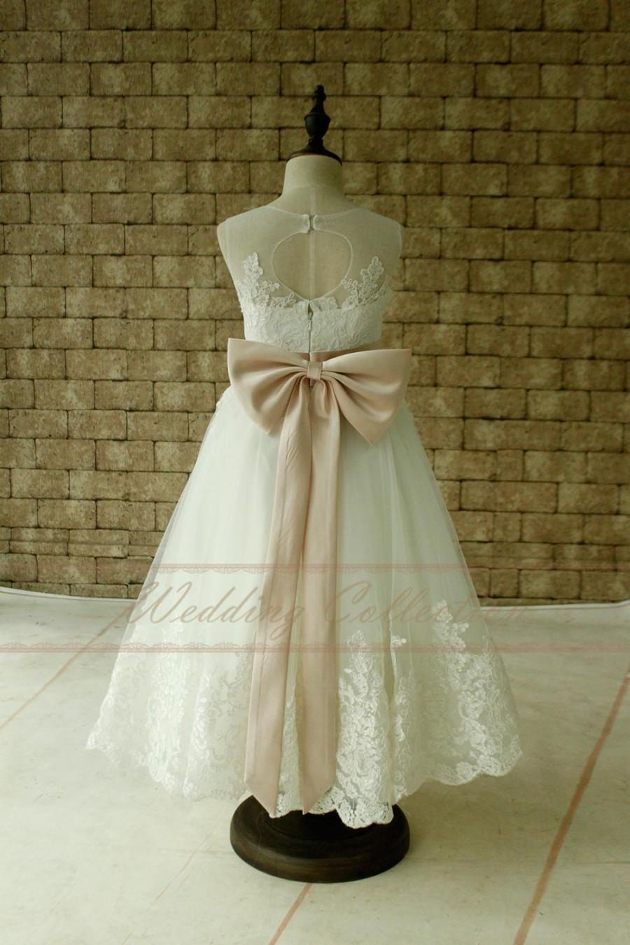 c44a844d0a Ivory Flower Girl Dress With Blush Sash