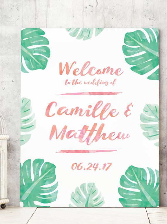 Tropical Wedding Welcome Sign With Watercolor Palm Leaves For