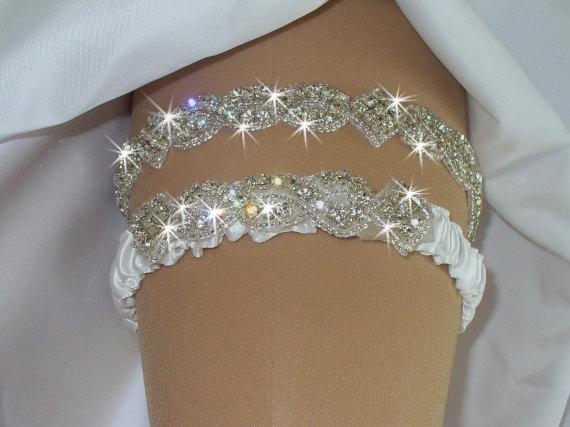 Hochzeit - Wedding, Wedding Garter Set, Something Blue Garter Belts, Garters and Lingerie, Rhinestone Garter, Crystal Garter with Toss, 12 Colors