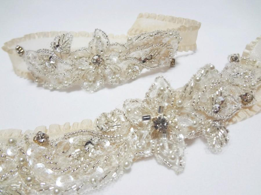Mariage - Garter Set - Wedding Garter Set, Champagne Garters, Bridal garter set, prom garter, wedding garters