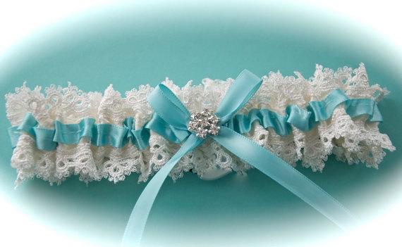 Mariage - Weddings, Wedding Garter, Garter with Robin's Egg Bridal Garter Ribbon, Garter in Bridal Tears Venice