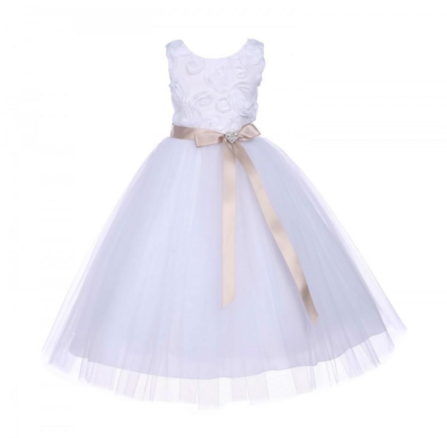Hochzeit - White tulle Flower girl dress 3D Floral Rose wedding pageant communion party satin ribbon handmade toddler elegant sizes 2 4 6 8 10