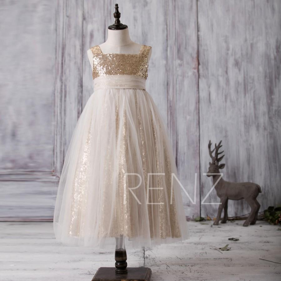 2016 off white soft tulle junior bridesmaid dress long golden 2016 off white soft tulle junior bridesmaid dress long golden sequin flower girl dress square neck children dress lk117 ombrellifo Choice Image